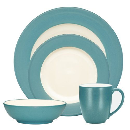 Noritake Colorwave Turquoise 4-Piece Place Setting, Rim - Colorwave Graphite Square Noritake