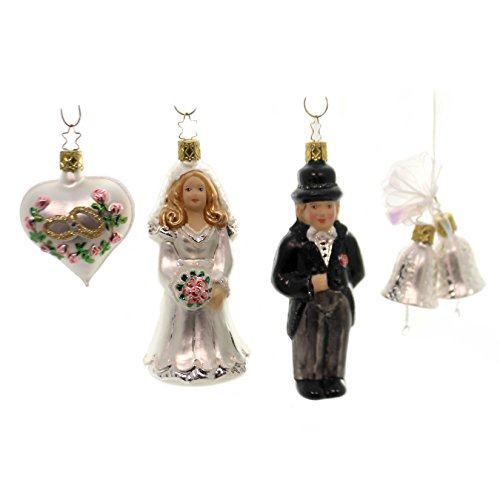 Inge Glas Wedding Day Bride and Groom German Glass Ornament Gift Set of 4