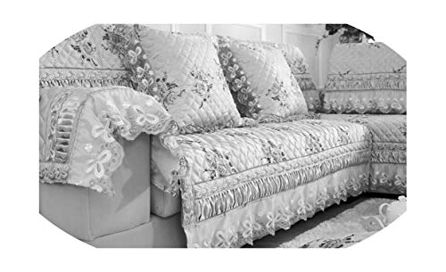 1 Piece Sofa Cover Embroidery Lace Anti-Slip Printed Sofa Towel Europe Style,Sky Blue,110cmW 210cmL