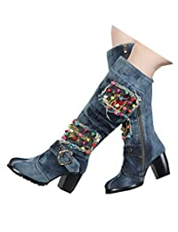 TIANRUI CROWN women's sexy diamond embroidery square heel denim knee boot shoe