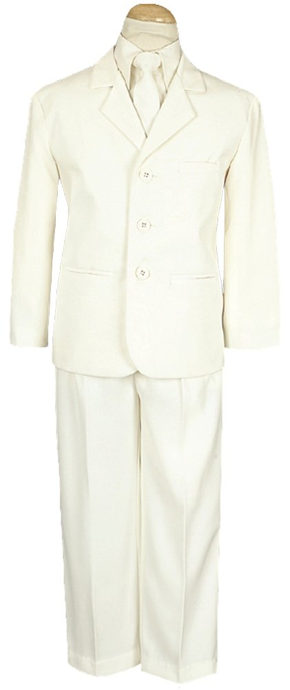 5 Piece Ivory Suit with Shirt, Vest, and Tie - Size 12 by Lito