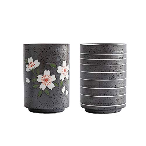 KCHAIN Pack of 2 Ceramic Teacup Set 10oz/300mL Japanese Tea Cups Mugs Set (Black)