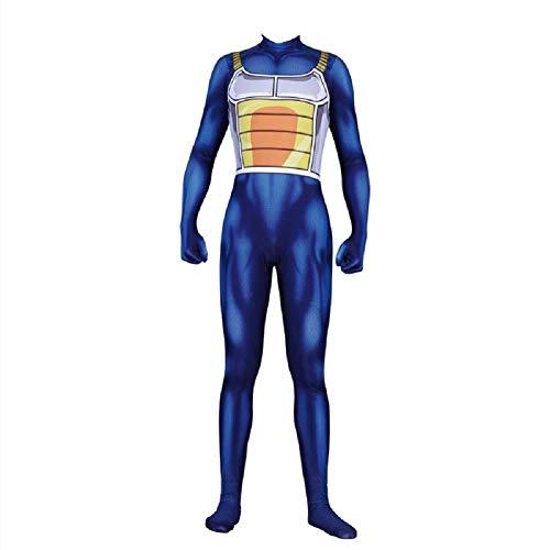 jarilnMo Dragon Ball Vegeta Adult and Kids Cosplay Costume Halloween Party Zentai Bodysuits jumsuits (Adult TAG L/US S, Vegeta Blue)