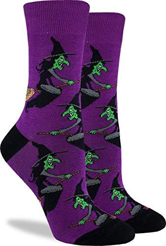 Good Luck Sock Women's Halloween Witch Crew Socks - Purple, Adult Shoe Size 5-9]()