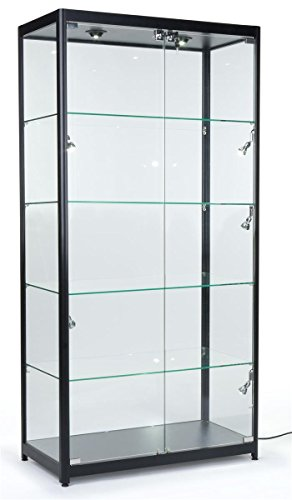 Superb Amazon.com: Tempered Glass Curio Cabinet With 8 Halogen Lights, 78 X 40 X  16.5 Inch, Free Standing, Locking Hinged Doors, Floor Levelers And 4 Green  Edge ...