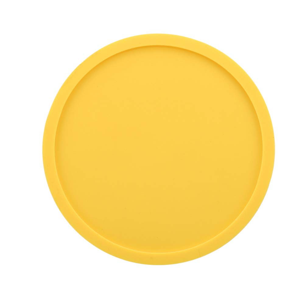 LANWF Round Silicone Coasters Non-Slip Cup Mats Tabletop Protector Any Table Type for Family Table Decoration,Yellow