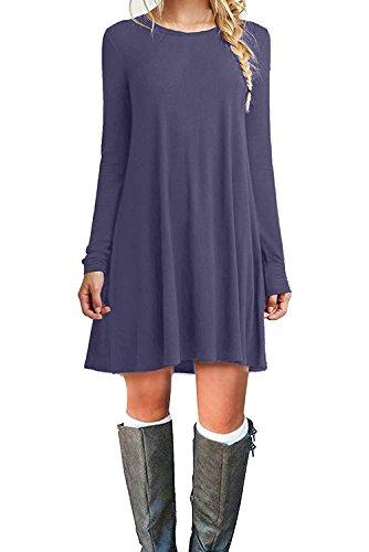 Womens Dresses Wholesale (MOLERANI Women's Casual Plain Long Sleeve Simple T-Shirt Loose Dress (M, Purple)