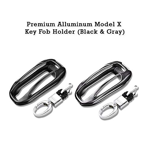 (CoolKo 2 Packs Newest and Improved Premium Alluminum Metal Alloy Shell Holder Case for Tesla Model X Car Key Fob [1 Black & 1 Gray])