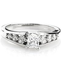 0.50 Carat (ctw) 14K White Gold Princess Diamond Ladies Bridal Semi Mount Engagement Ring 1/2 CT