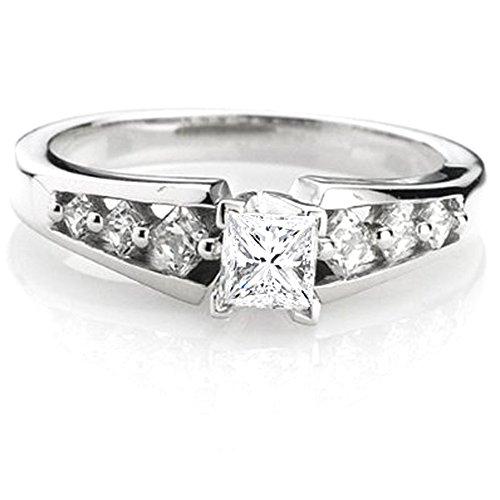 Dazzlingrock Collection 0.50 Carat (ctw) 14K Princess Diamond Ladies Bridal Semi Mount Engagement Ring, White Gold, Size 6