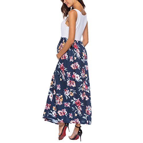 Dress Pregnancy Women's Sales Sundress Skirts amp; Zhuhaijq Casual Pregnant Vest amp;Printing Summer Long Dress 2in1 Nursing Sleeveless Maternity Neck Dress Navy O Hot aqx5H6qAwz