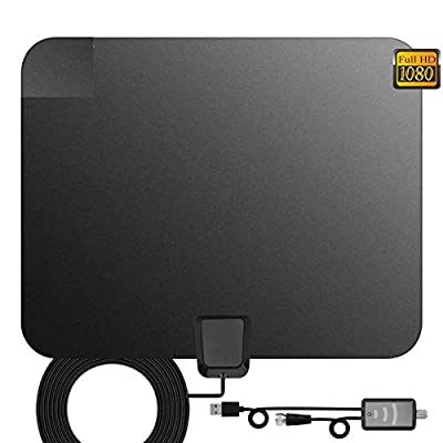 TV Antenna, Indoor Digital HDTV Amplified Television Antenna Freeview 4K 1080P HD VHF UHF for Local Channels 130 Miles Range with Signal Amplifier Support All TV's-13ft Coax Cable