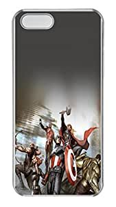 iPhone 5 Case, iPhone 5S Cases - Non-Slip Clear Hard Case Cover for iPhone 5/5s Avengers Characters Illustration Drop-Protection Translucent Hard Back Case Bumper for iPhone 5/5S