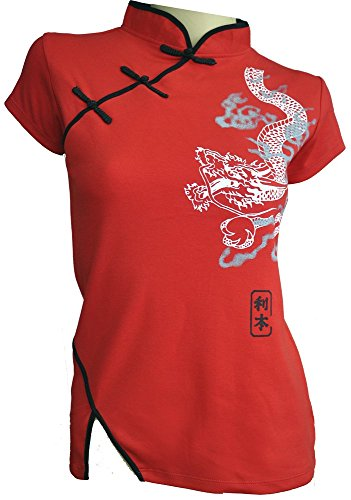 Amazing Grace Sexy Chinese Dress Top Dragon (Medium, Red Dragon)