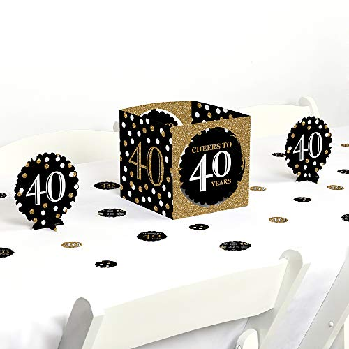 Big Dot of Happiness Adult 40th Birthday - Gold - Birthday Party Centerpiece & Table Decoration Kit