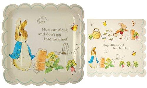 Meri Meri Peter Rabbit Large Square Party Plates and Napkins -- 12 Plates and 20 Napkins Model: