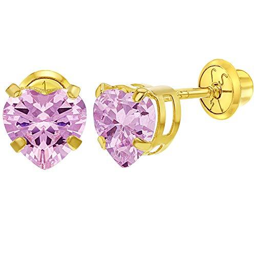 - 14k Yellow Gold CZ Heart Prong Set Screw Back Earrings for Teens Girls