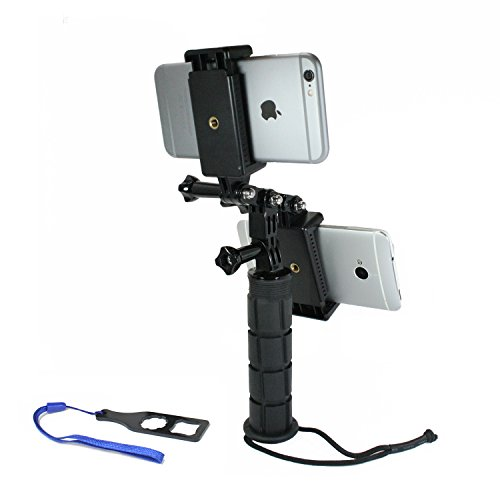 Livestream Gear® - Dual Device Hand Grip Setup for Streaming or Video Recording with 2 Phones. Also Works with GoPro, or Point-and-Shoot Camera. Any Device, Multiple Orientations. (2 Device Hand Grip) by Livestream