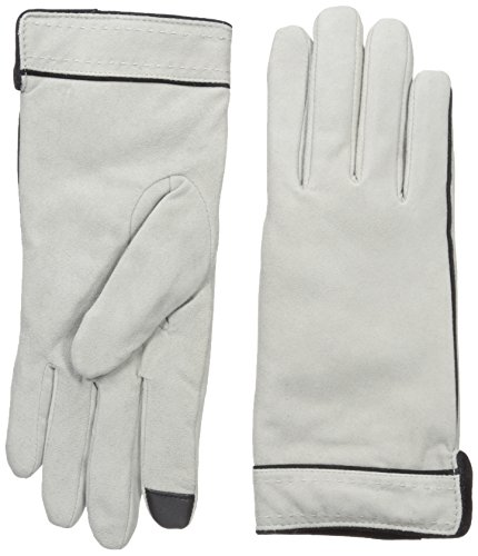 Adrienne Vittadini Women's Soft Suede Micropile Lined Touchscreen Gloves, Light Grey, Large