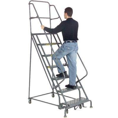 - Tri-Arc KDSR104166 4-Step Steel Rolling Industrial and Warehouse Ladder with Handrails and 16