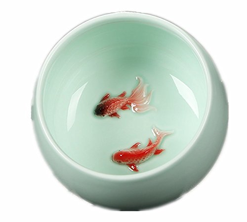 Moyishi 70ml Porcelain Chinese Celadon Tea cup/ Coffee Cup Red Carp Pattern, Set of 4
