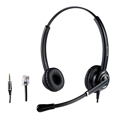 Telephone Headset RJ9 with Noise Cancelling Microphone for Cisco Jabra Including Extra 3.5mm Connector for Mobile Laptop