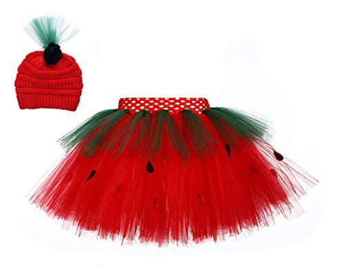 SanLai Little Girls Layered Strawberry Cosplay Tutu Skirt for Birthday Photography Christmas Tutu Costumes Outfit for Kids with Knitted Hat]()