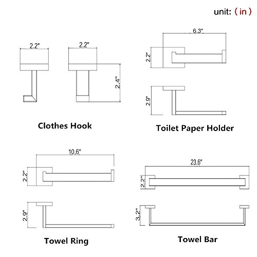 BigBig Home 4PCS Bathroom Hardware Set Modern Square Style SUS 304 Stainless Steel Toilet Paper Holder, Towel Ring, Robe Hook,Towel Bar, Brushed Finish Wall Mounted Tissue Hanger Bathroom Accessories by BigBig Home (Image #9)