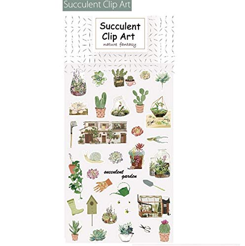 Tuersuer Removable Wall Sticker Decals Children's Leisure Life Series Sticker for DIY Album Planner Diary Decorative(Succulent Clip ()