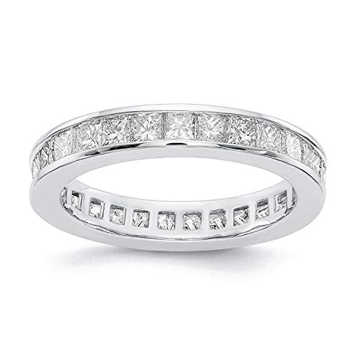 PAVOI 14K Gold Plated Cubic Zirconia Rings | Princess Cut Eternity Bands | Stackable White Gold Ring Size 7 ()