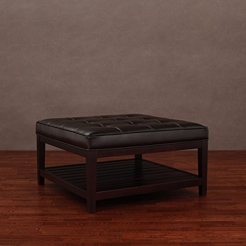 Hudson Luxurious Sturdy and Comforatable with Lower Shelf Dark Brown (Chocolate Leather Ottoman)