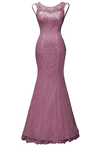 s Detachable Lace with Formal Dress Mermaid Gown Women DYS Wedding Mauve Train Evening 5qU0xfAw
