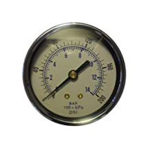 "Air pressure gauge for air compressor water oil gas 2"" dial center back mount 1/4"" npt 0-200"