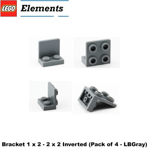 Lego Parts: Bracket 1 x 2 - 2 x 2 Inverted (PACK of 4 - LBGray) Baxter Moc