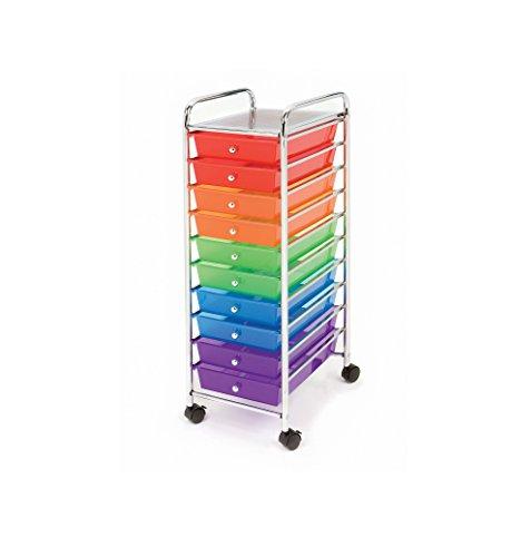 Seville Classics 10-Drawer Organizer Cart, Pearlescent Multi-Color