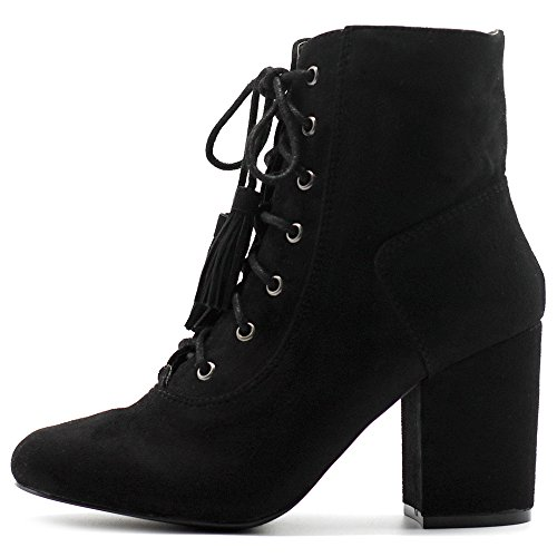 Ollio Women's Shoe Faux Suede Tessle Lace Up Stacked High Heel Ankle Boots ELT01 (11 B(M) US, Black) (Stiletto Heel Lace Up Boots)