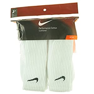 Nike Men/'s Performance Cotton Cushioned Crew Socks, 6 Pair Large (shoe size 8-12) (White) Six Pack