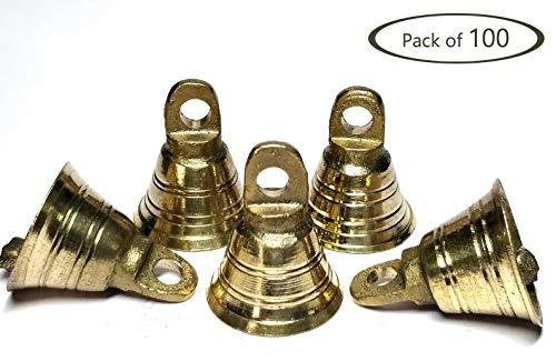 AzKrafts Pack of 100 Small Mini 1 inch Brass Bells Bulk Lot for Crafts Decor, Doors, Wedding, Party, Gift, Indian Bells