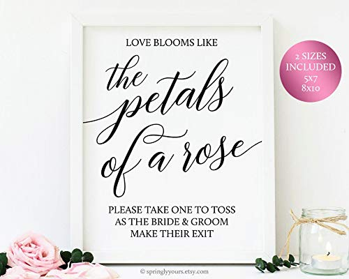 (Wendore Wedding Rose Petal Toss Sign Cones Bags Wedding Exit Toss Ideas Rose Petals Send Off Sign Printable Rose Petals to Throw Wedding Toss Roses Framed Wall Art)