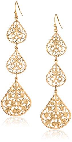 - 1928 Jewelry Gold-Tone Filigree Linear Drop Earrings