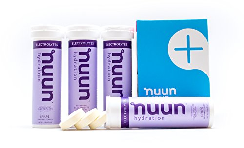 Nuun Hydration: Electrolyte Drink Tablets, Grape, Box of 4 Tubes (40 servings), to Recover Essential Electrolytes Lost Through Sweat