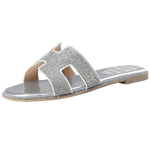 Femmes Plates Silver Mode Ete JOJONUNU Sandales Bx0wBU