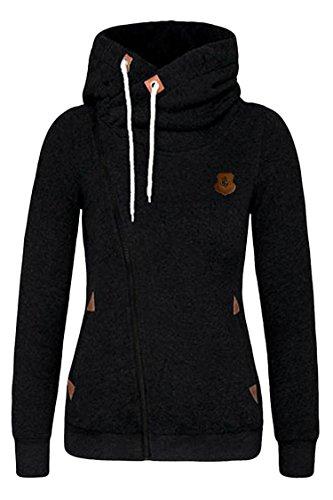 Kisscy Women's Full Zip Up Fleeces Active Hooded Sweatshirt Hoodies Black L (Cowl Hoodie Women compare prices)