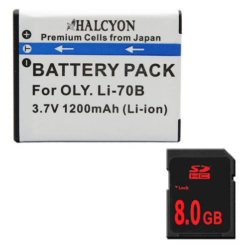 LI-70B Lithium Ion Replacement Battery + 8GB SDHC Memory Card for Olympus VG-110 VG-120 VG-130 VG-140 FE4020 Digital Cameras by DavisMAX