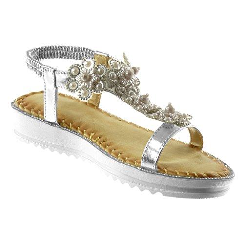 Angkorly 3 Moda Fantasia Strass Donna Zeppa Scarpe Fiori Con Sandali Argento Cinturino Tacco Caviglia Cm Slip Alla on 1R1qrxZw