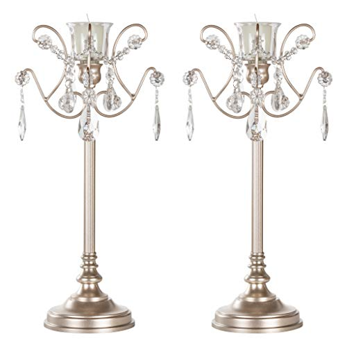 Amalfi Décor Tiffany 2-Piece Champagne Metal Candelabra Set, Votive Candle Taper Candlestick Holder Unity Accent Stand