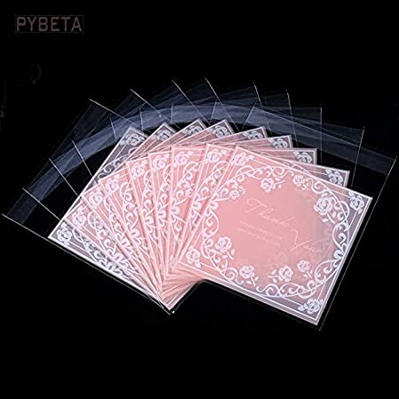 Lumanuby S/ü/ßigkeiten Tasche Set von 100pcs Thank You Rose Blume Bonbons T/üten Opp f/ür Cookie Kekse Schokolade Tisch Deko f/ür Hochzeits Verlobung Zubeh/ör f/ür DIY oder B/äckerei size 7*7cm+3cm Rosa
