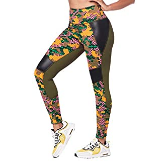 Zumba High Waisted Leggings for Women Dance Compression Butt Lift Workout Pants, Seaweed, S