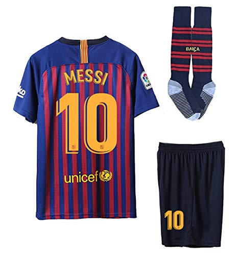 0b93099d716 JDETAGEEQI Barcelona 2018/2019 Season Messi #10 Home Kids/Youths Soccer  Jersey & Shorts & Socks Size 12-13years Blue