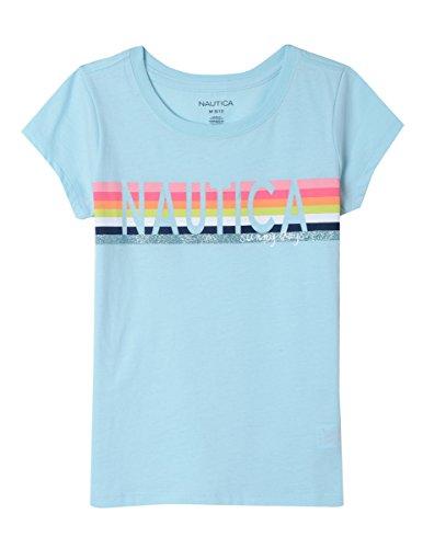 - Nautica Girls' Big Short Sleeve Graphic Tee, Glitter Light Aqua, Medium (8/10)